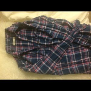 Abercrombie Blue and Pink Plaid Flannel- NEW